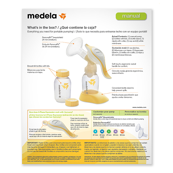Medela Harmony Manual Breast Pump Box Rear