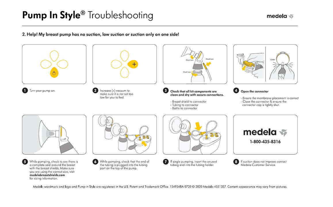 Medela Pump in Style No Suction Infographic